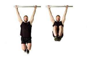 hanging knee raises buikspieren